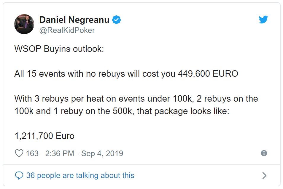 Daniel Negreanu Tweet